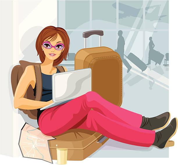ilustrações, clipart, desenhos animados e ícones de espera no aeroporto - viagem de primeira classe