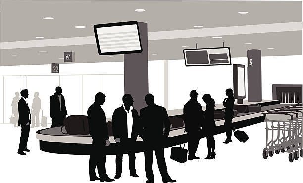 Waiting For Luggage A vector silhouette illustration of people waiting for their luggage at an airport carousel. airport silhouettes stock illustrations