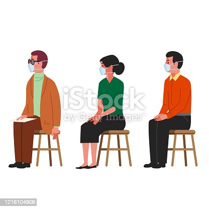 3 people with masks spaced apart waiting to be seen by a doctor