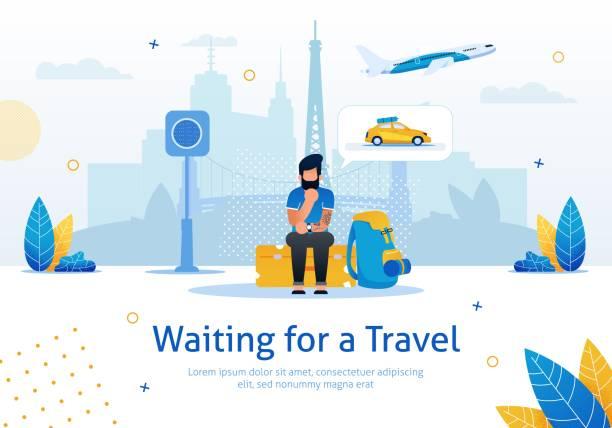 illustrazioni stock, clip art, cartoni animati e icone di tendenza di waiting for travel flat vector promotion banner - illustrazioni su destinazioni di viaggio