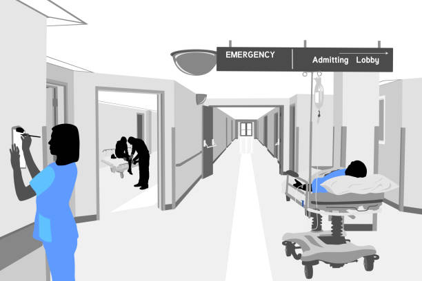 illustrations, cliparts, dessins animés et icônes de en attente de traitement hospitalier - couloir