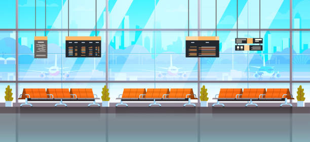 Waiting Hall Or Departure Lounge Modern Airport Interior Terminal Waiting Hall Or Departure Lounge Modern Airport Interior Terminal Flat Vector Illustration airport backgrounds stock illustrations
