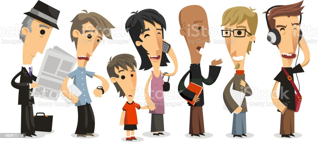 Waiting Line Standing people in a Row vector art illustration