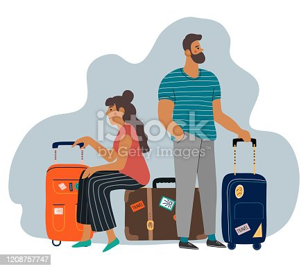 A waiting man and woman with suitcases. Cartoon flat vector illustration .
