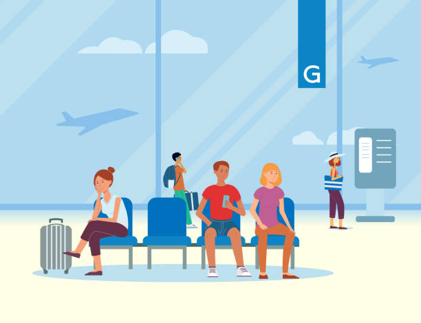 Waiting room at the airport with traveling passengers and tourists with luggage. vector art illustration