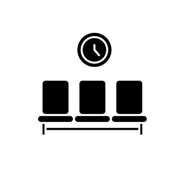 illustrations, cliparts, dessins animés et icônes de icône de chambre noire en attente, vecteur signe sur fond isolé. symbole de concept de salle d'attente, illustration - hall d'accueil