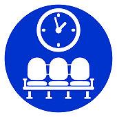 Illustration of waiting room blue icon