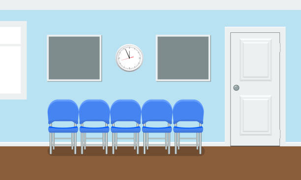 Waiting room for patients in the dental office. Interior building for stomatology concept. Vector in flat style. Waiting room for patients in the dental office. Interior building for stomatology concept. Vector illustration in flat style. hospital background stock illustrations