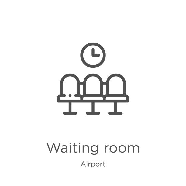 waiting room icon vector from airport collection. Thin line waiting room outline icon vector illustration. Outline, thin line waiting room icon for website design and mobile, app development waiting room icon. Element of airport collection for mobile concept and web apps icon. Outline, thin line waiting room icon for website design and mobile, app development outpatient stock illustrations