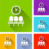 Illustration of waiting room icons with shadow