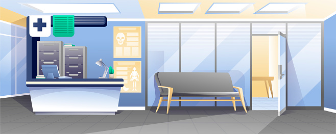 Waiting room in hospital background. Receptionist desk with computer, lamp, drawers, sofa for patients, door to medical cabinet vector illustration. Professional health care scene