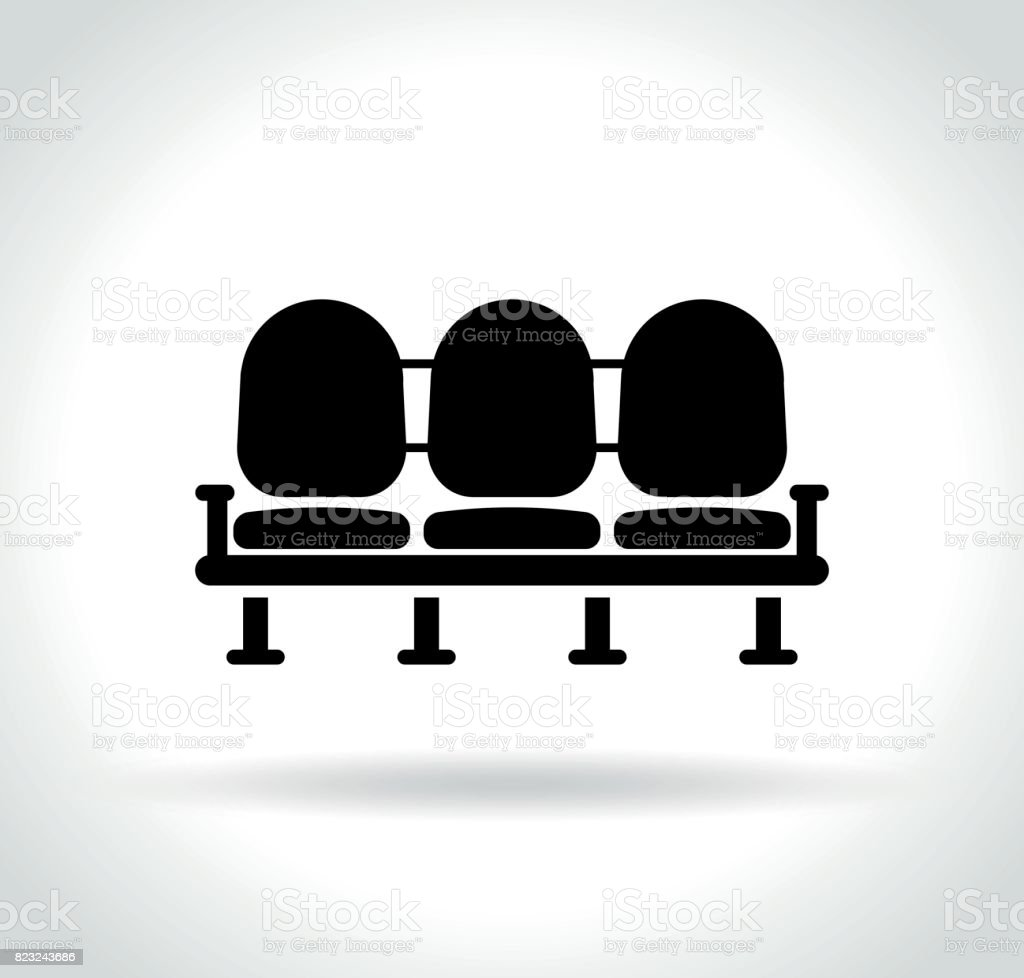 waiting room seats icon vector art illustration