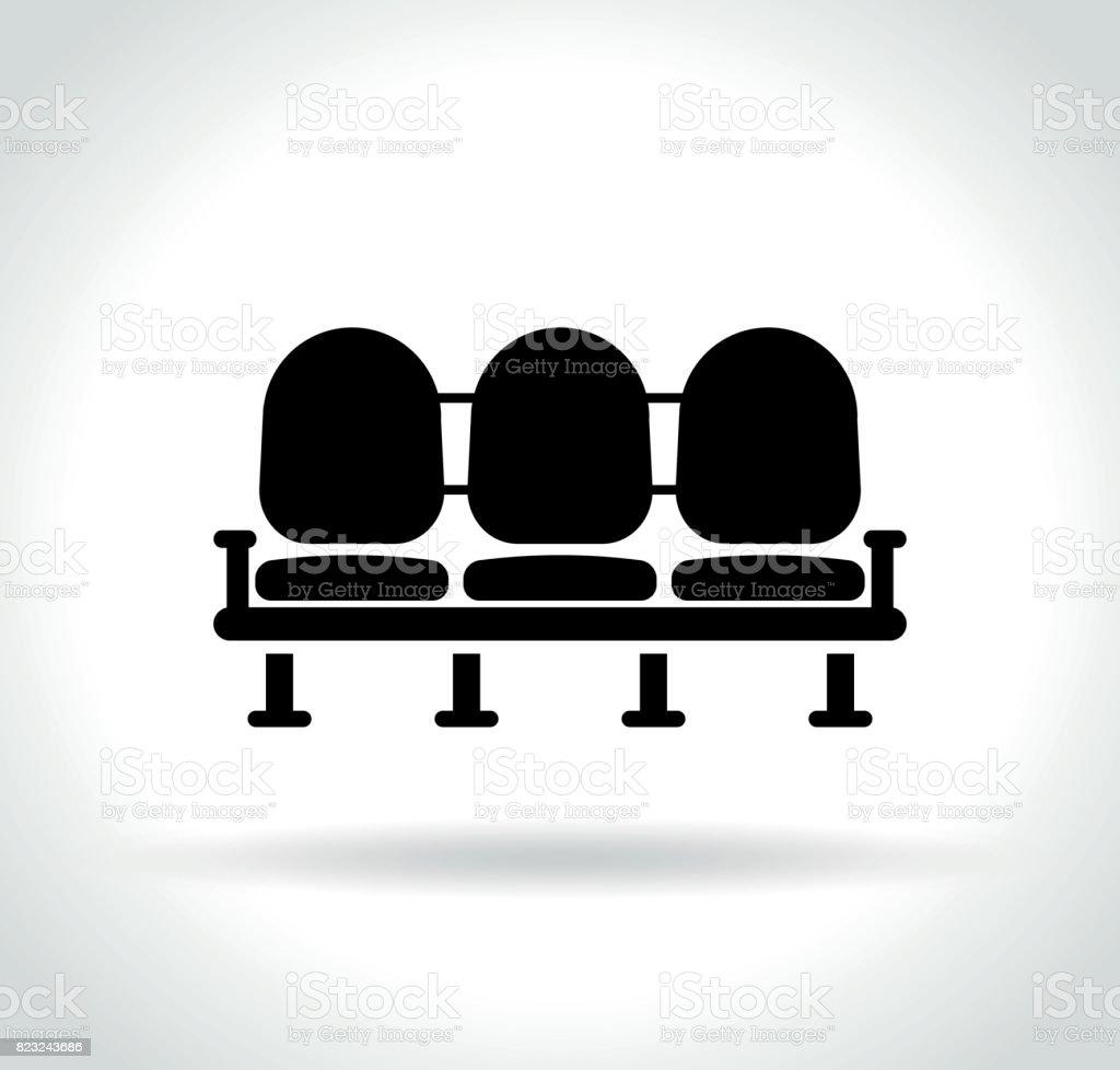 waiting room seats icon vector art illustration