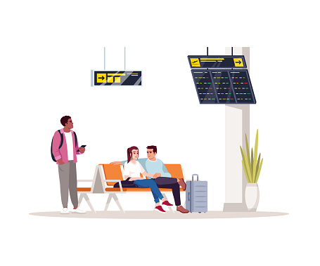 Waiting room semi flat RGB color vector illustration. People before flight in airport lobby. Woman and man seat in lounge. Airplane passengers isolated cartoon characters on white background