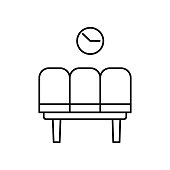waiting room, time and date, seats line icon. elements of airport, travel illustration icons. signs, symbols can be used for web, logo, mobile app, UI, UX on white background