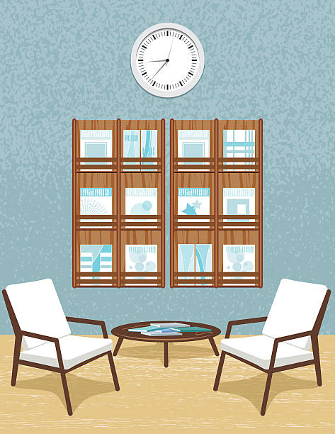 Waiting Room With Chairs & Clock Waiting Room With Chairs & Clock  magazine rack stock illustrations