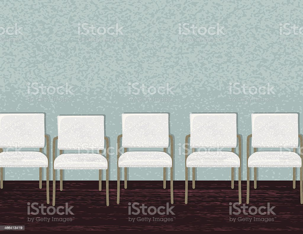 Contemporary Waiting Room With Chairs & Painting vector art illustration New Design - Minimalist waiting room chairs Style