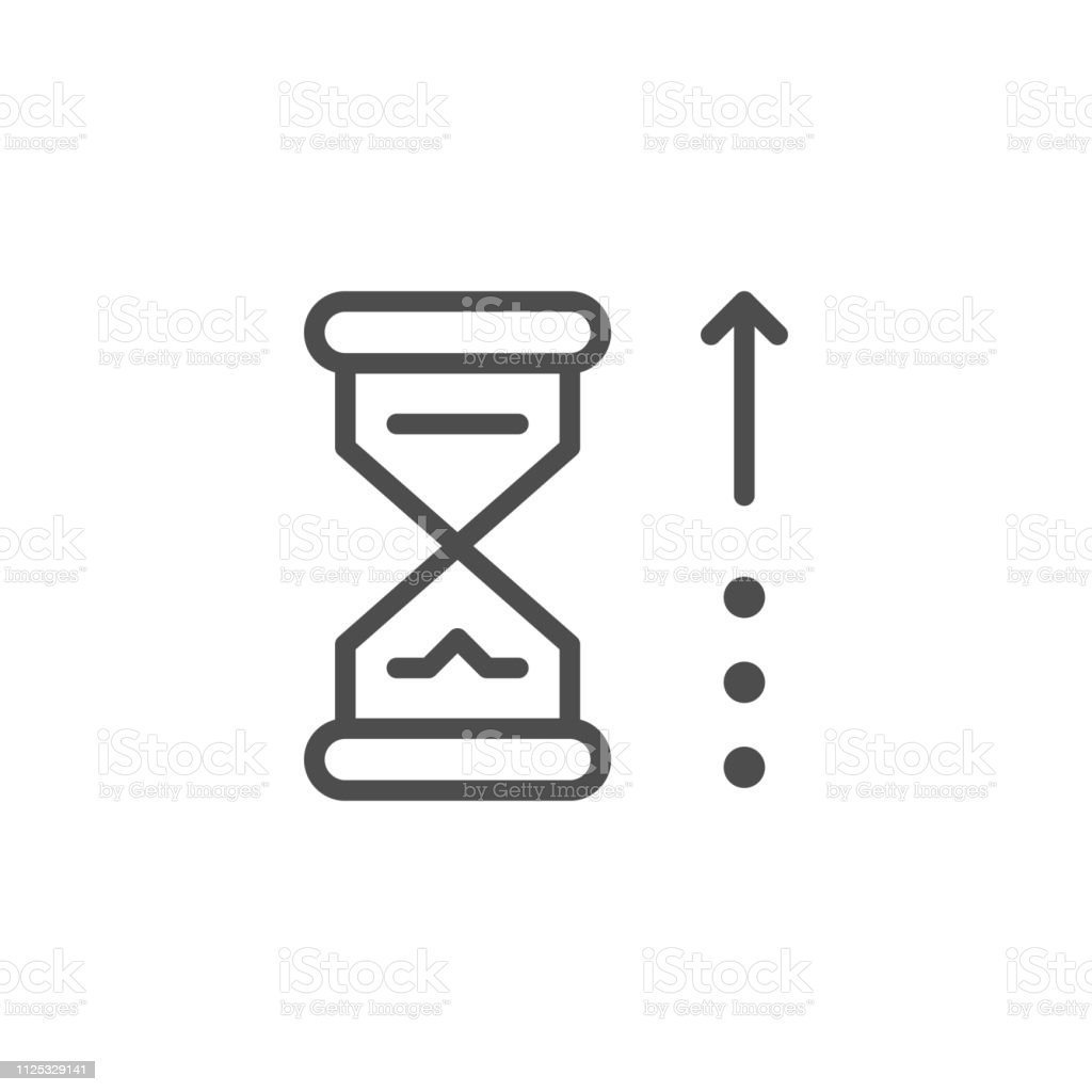 Waiting time line icon isolated on white. Vector illustration