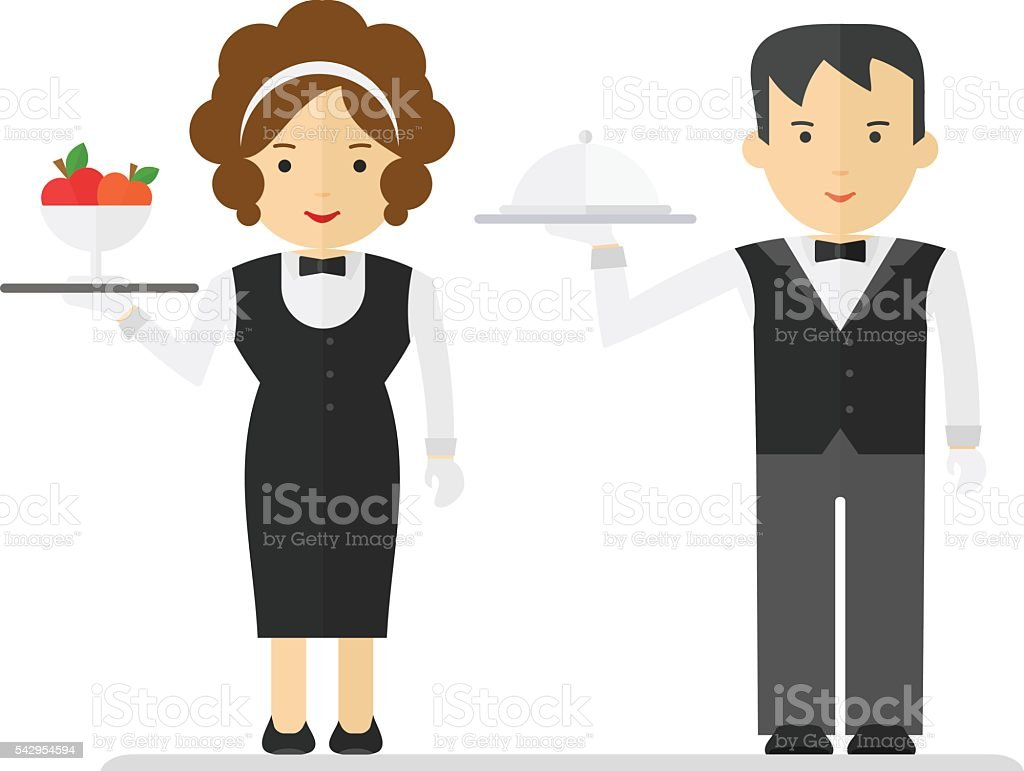 waitress and waiter in black suit vector art illustration