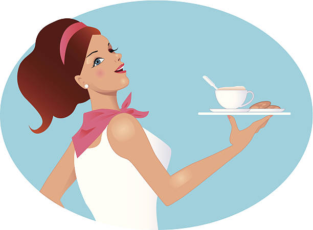 illustrazioni stock, clip art, cartoni animati e icone di tendenza di cameriera portando caffè e biscotti - portrait of waiter and waitress holding a serving