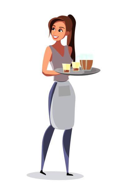 illustrazioni stock, clip art, cartoni animati e icone di tendenza di waitress carrying tray in pub vector illustration - cameriera