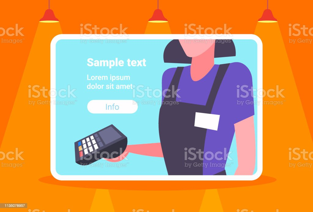 waitress holding electronic terminal cashless payment technology concept restaurant worker portrait horizontal copy space - arte vettoriale royalty-free di Adulto