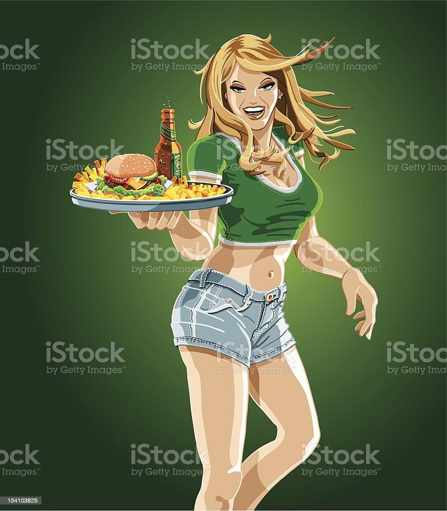 Cameriera tenendo un vassoio di Hamburger, birra e patatine fritte - arte vettoriale royalty-free di Adulto