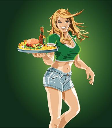 Cameriera Tenendo Un Vassoio Di Hamburger Birra E Patatine Fritte - Immagini vettoriali stock e altre immagini di Adulto