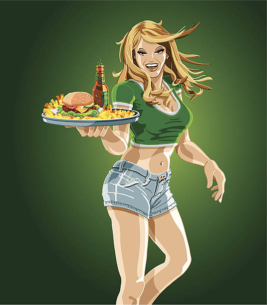 illustrazioni stock, clip art, cartoni animati e icone di tendenza di cameriera tenendo un vassoio di hamburger, birra e patatine fritte - portrait of waiter and waitress holding a serving