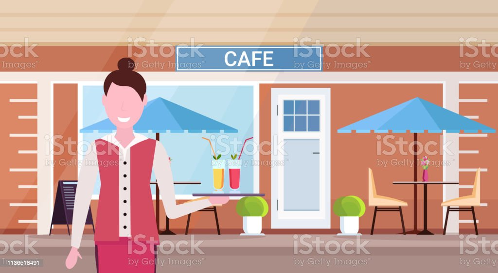 waitress holding tray with cocktails professional worker serving drinks for clients modern summer cafe shop exterior street restaurant terrace female portrait horizontal - arte vettoriale royalty-free di Adulto