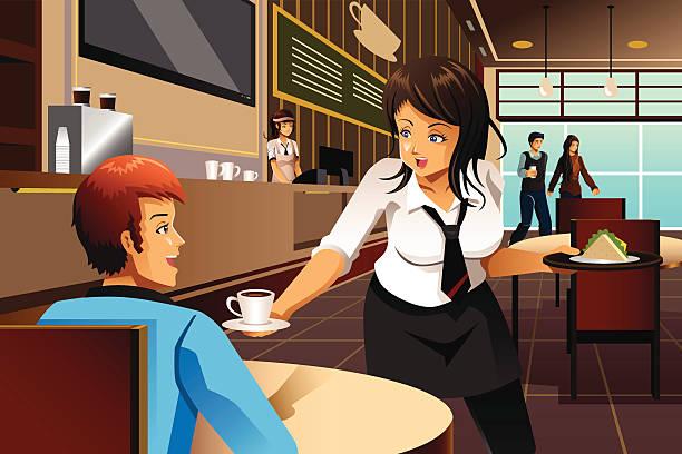 Waitress in a restaurant serving customers vector art illustration