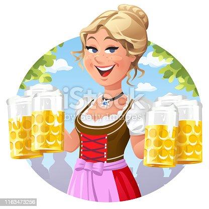 Waitress In Dirndl Serving Beer Outdoors
