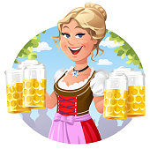 Vector illustration of a young blond waitress in a traditional German Dirndl dress holding six beer mugs. In the background are trees, a blue cloudy sky and guests. Concept for German culture and tradition, traditional German or Austrian clothing, the Bavarian Oktoberfest, restaurants, catering and gastronomy.