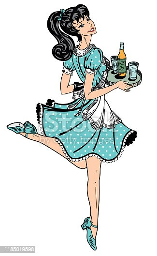 color waitress in retro style brings beer order
