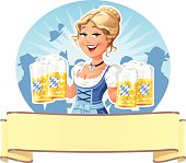 "A young blond smiling waitress in a traditional blue German ""Dirndl""-dress holding six beer mugs in front of a cheering crowd of people, throwing their hats in the air. Illustration with banner ready for your text. EPS 10, everything labeled in layers."