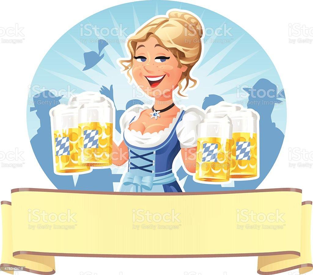 Kellnerin serviert Bier auf der das Oktoberfest – Vektorgrafik