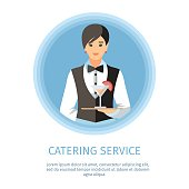 Waitress Serving Cocktail Glass Banner Template. Female Waiter with Tray Cartoon Character. Catering Service Lettering with Text Space. Restaurant, Cafe, Cafeteria Poster Design Element