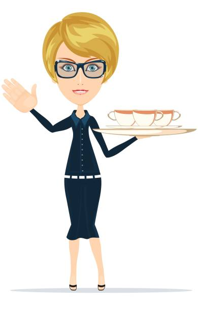 illustrazioni stock, clip art, cartoni animati e icone di tendenza di waitress serving coffee or tea - portrait of waiter and waitress holding a serving