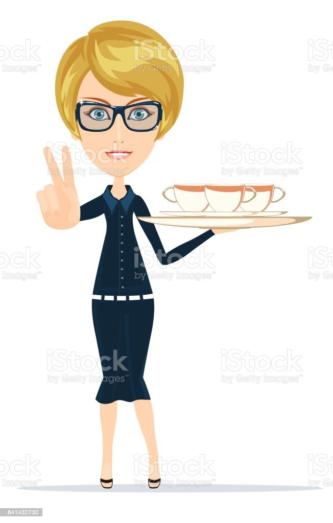 Waitress serving coffee or tea - arte vettoriale royalty-free di Adulto