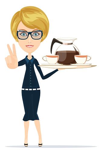 Waitress Serving Coffee Or Tea - Immagini vettoriali stock e altre immagini di Adulto