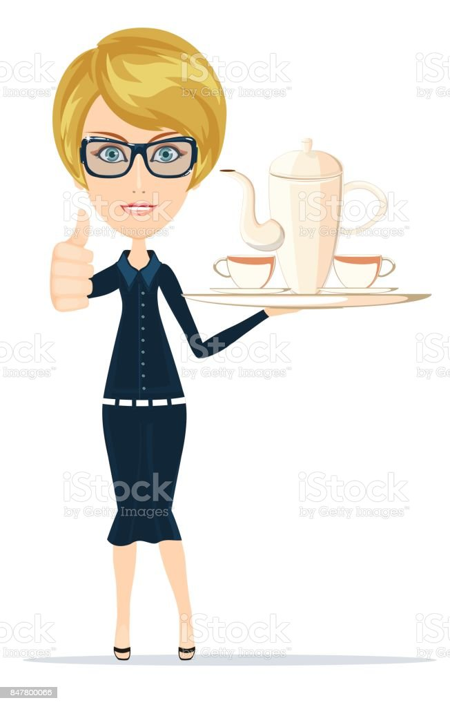 Waitress serving coffee or tea - arte vettoriale royalty-free di Adulto