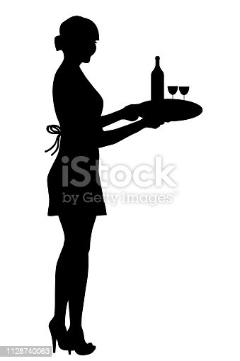 Waitress silhouette holding a tray with wine glasses and a bottle