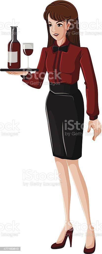 Waitress vector art illustration