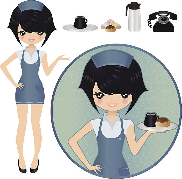 illustrazioni stock, clip art, cartoni animati e icone di tendenza di cameriera - portrait of waiter and waitress holding a serving