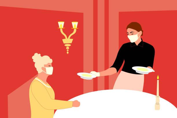 ilustrações de stock, clip art, desenhos animados e ícones de waitress wearing a mask and gloves and serving the restaurant's guests. - covid restaurant