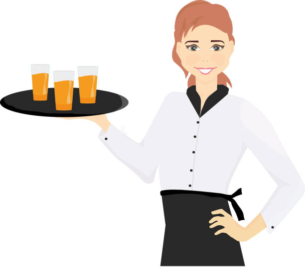 illustrazioni stock, clip art, cartoni animati e icone di tendenza di waitress with a tray in her hands - portrait of waiter and waitress holding a serving
