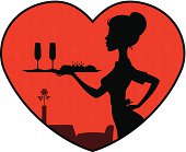 Waitress with tray in romantic style cafe background.