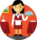 Young women waitress with tray on restaurant background in flat style