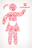 Waitress Women's Rights and female empowerment Icon Pattern. The outlines of the main shape are filled with various women's rights and female empowerment icons. The icons vary in size and in the shade of the pink color. They form a seamless pattern and work in unison to complete this composition. The individual icons include classic female empowerment imagery of women in various aspects of life and promote social equality and achievement.