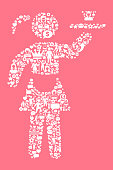Waitress Women's Rights and Girl Power Icon Pattern. The outlines of the main shape are filled with various women's rights and girl power icons. The icons are white in color. They form a seamless pattern and work in unison to complete this composition. The individual icons include classic girl power imagery of women in various aspects of life and promote social equality and achievement.